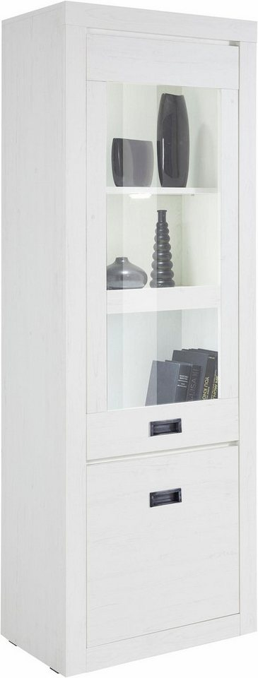 Vitrine, Höhe 186 cm in Piniefarben Weiß