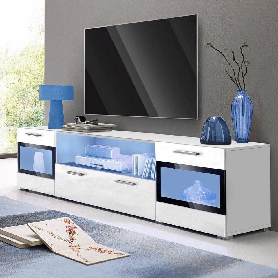 lowboard breite 182 cm t ren mit glaseinsatz online kaufen otto. Black Bedroom Furniture Sets. Home Design Ideas