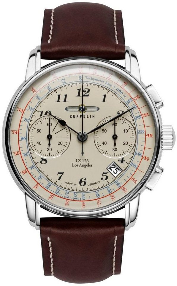 ZEPPELIN Chronograph »Los Angeles, 7614-5« Made in Germany in braun