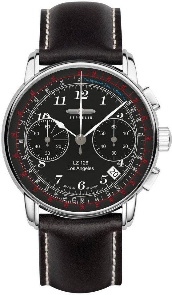ZEPPELIN Chronograph »Los Angeles, 7614-2« Made in Germany in schwarz