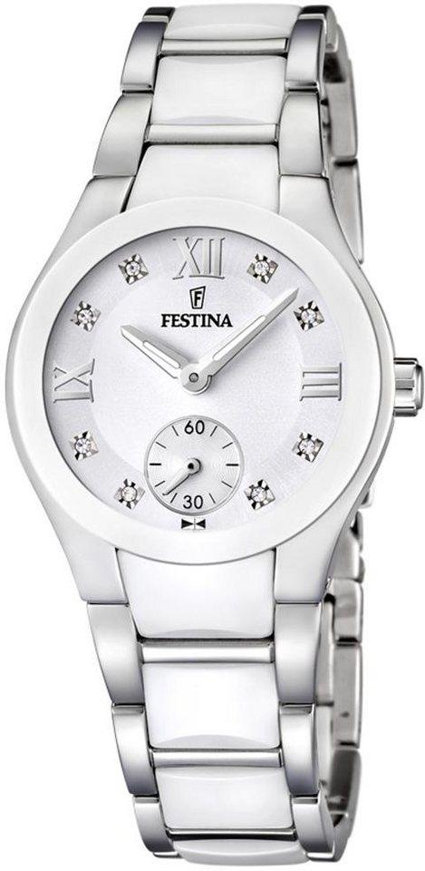 Festina Quarzuhr »F16588/2« mit Keramiklünette in silberfarben-weiß