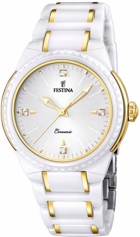 Festina Quarzuhr »F16698/2« mit Keramiklünette in weiß-goldfarben
