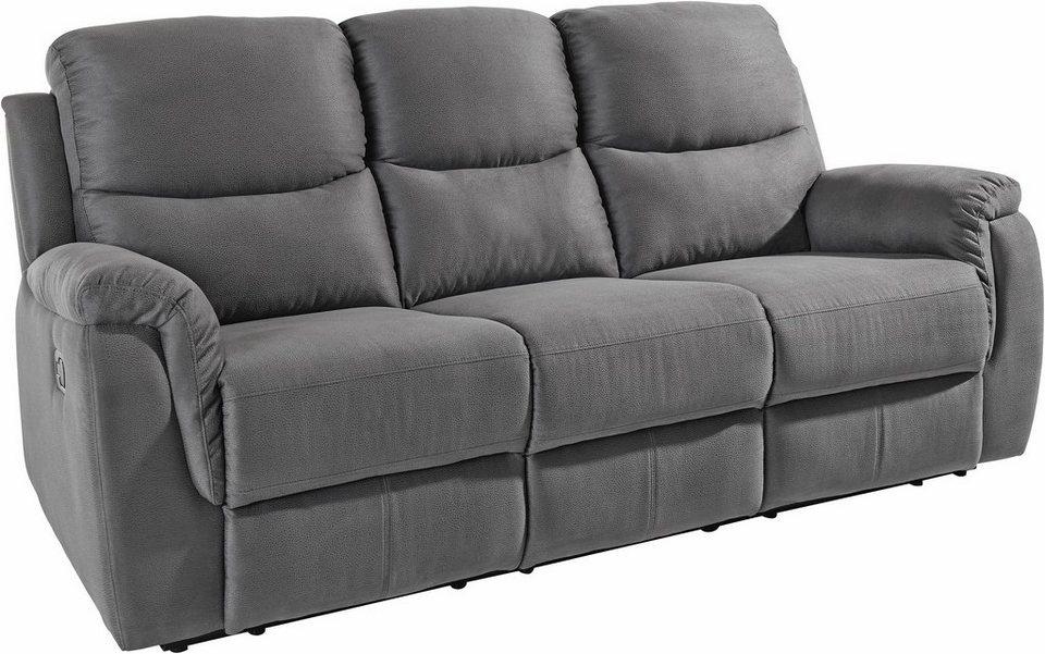 Atlantic Home Collection 3-Sitzer, mit Relaxfunktion und Federkern in dunkelgrau