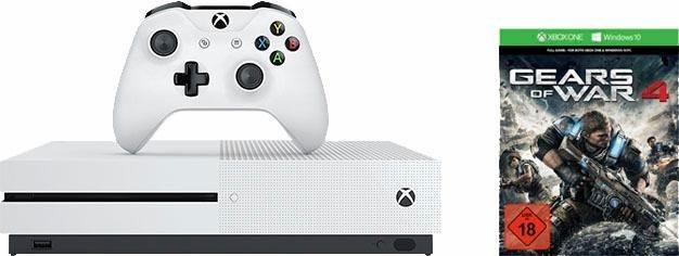 Xbox One S 1TB + Gears of War 4 (DLC), 4K Ultra HD in weiß
