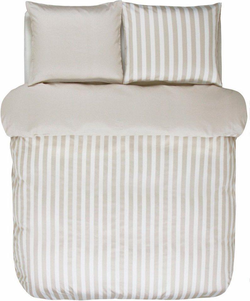 Wendebettwäsche, Marc O'Polo Home, »Classic Stripe«, breite Streifen in beige-weiß