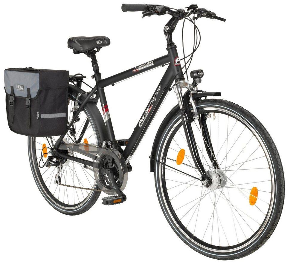 Trekkingrad (Herren) »71,12 cm (28 Zoll)« mit Fahrradtasche in schwarz