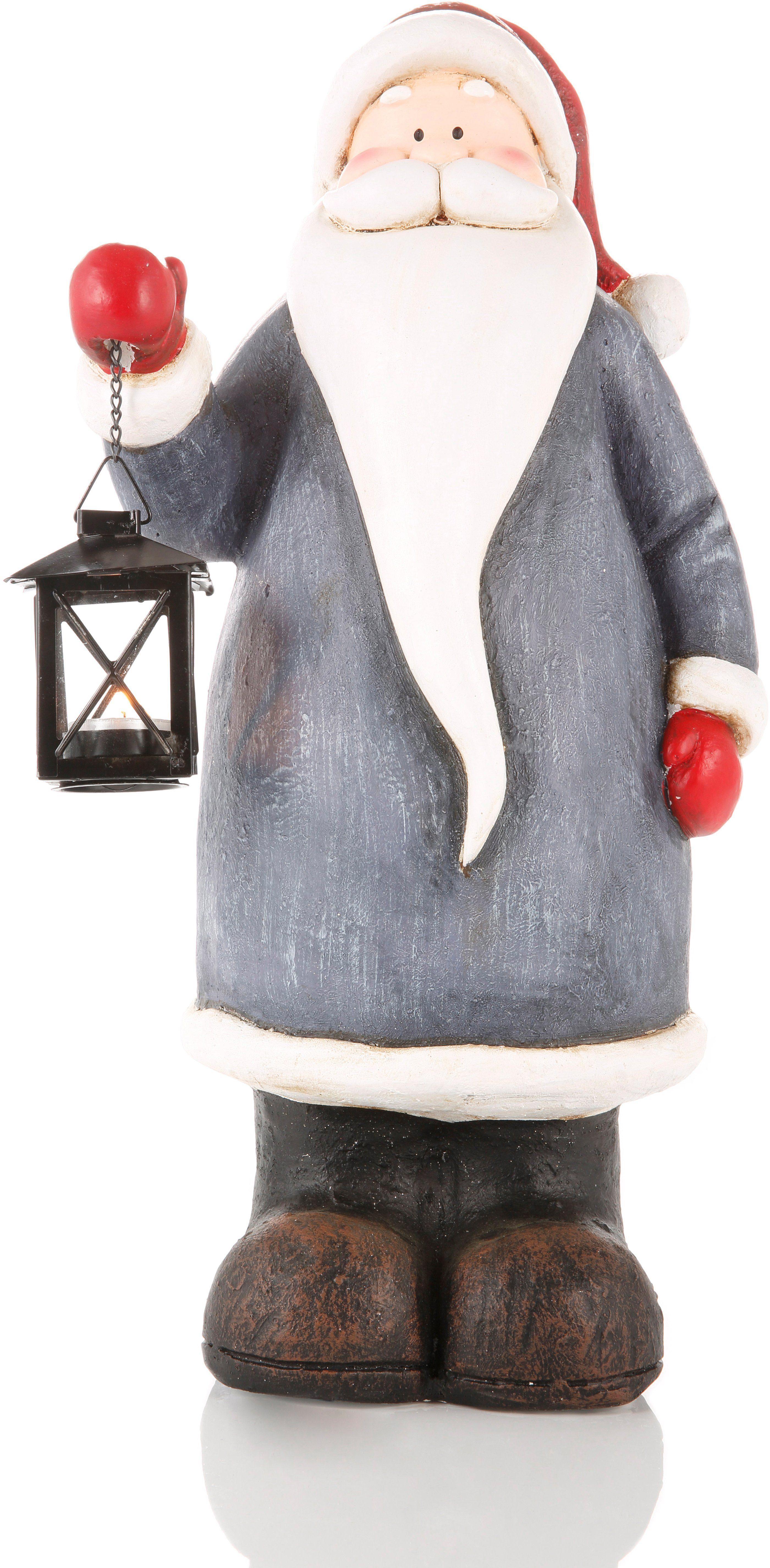 Dekofigur Santa mit Laterne