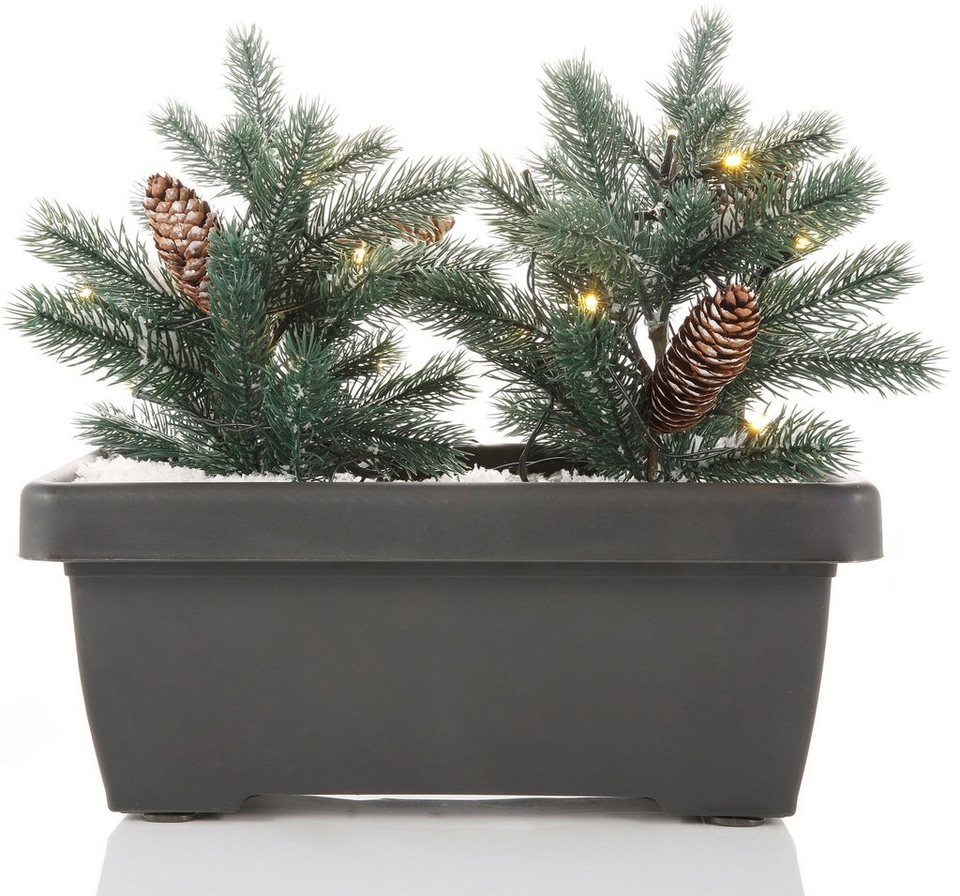 LED Balkon Blumenkasten mit 2 Mini Weihnachtsbäumchen in grün, grau