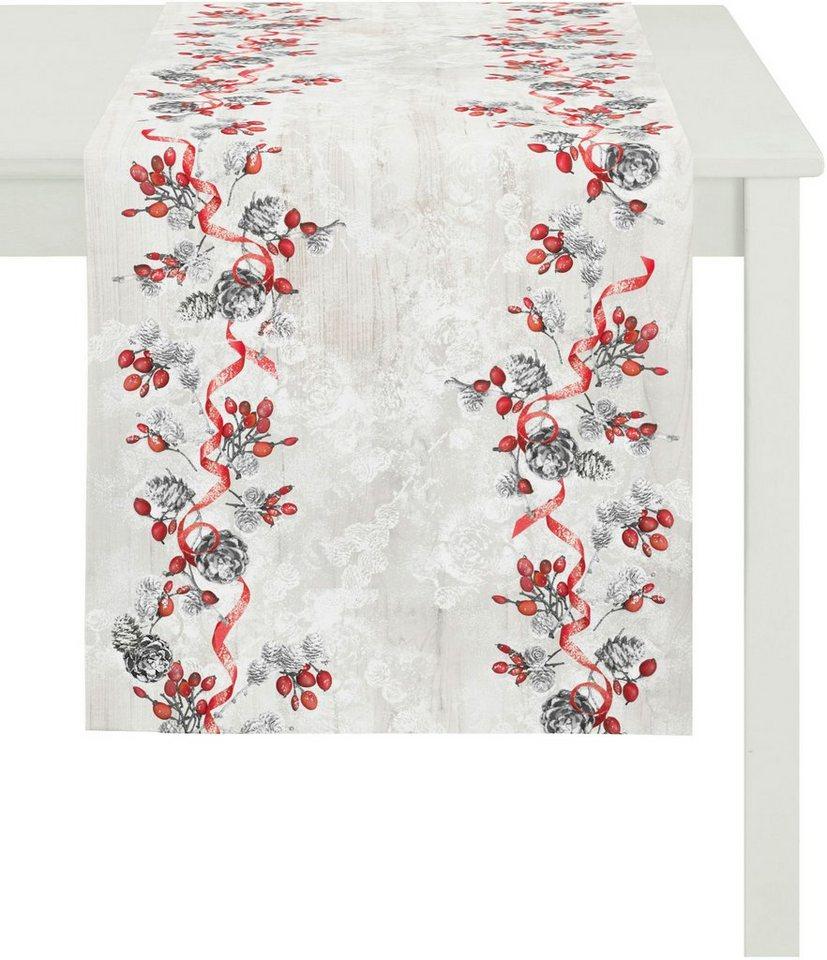 Apelt Tischläufer, 40/140 cm, »5149 WINTERWELT« in weiß/rot grau