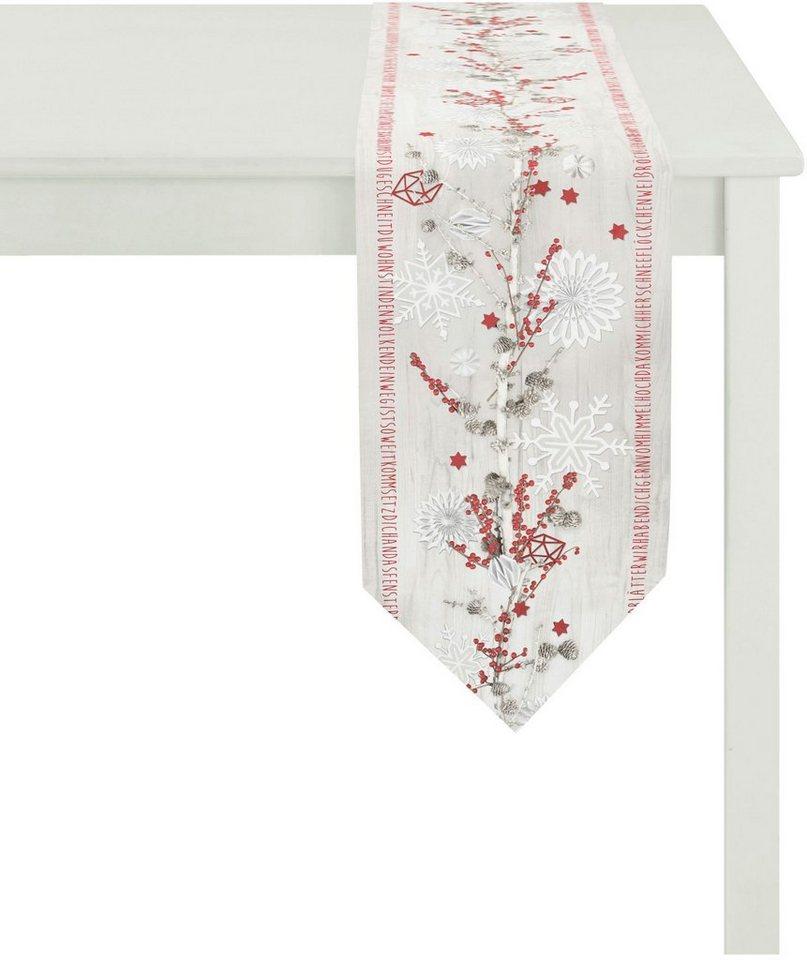 Apelt Tischläufer, 28/175 cm, »5152 WINTERWELT« in weiß/rot/silber