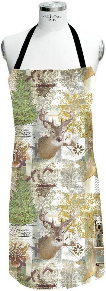Apelt Schürze, »5159 WINTERWELT« in natur/grün/braun