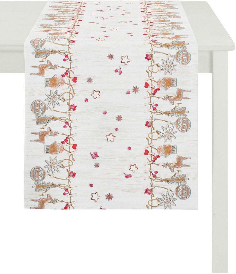 Apelt Tischläufer, 48/135 cm, »5150 WINTERWELT« in weiß/rot/braun