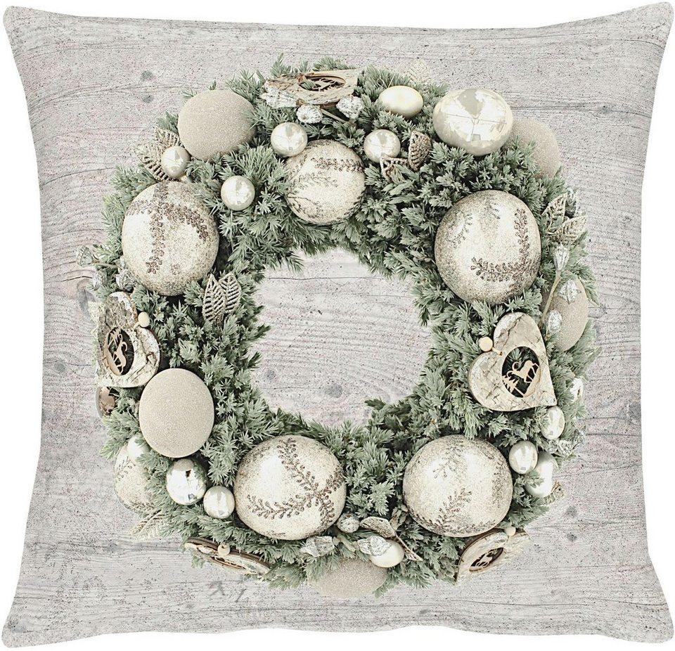 Apelt Kissenhülle, »5163 WINTERWELT« in natur/silber/grün