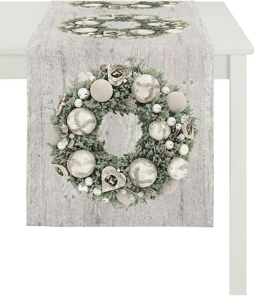 Apelt Tischläufer, 48/135 cm, »5163 WINTERWELT« in natur/silber/grün