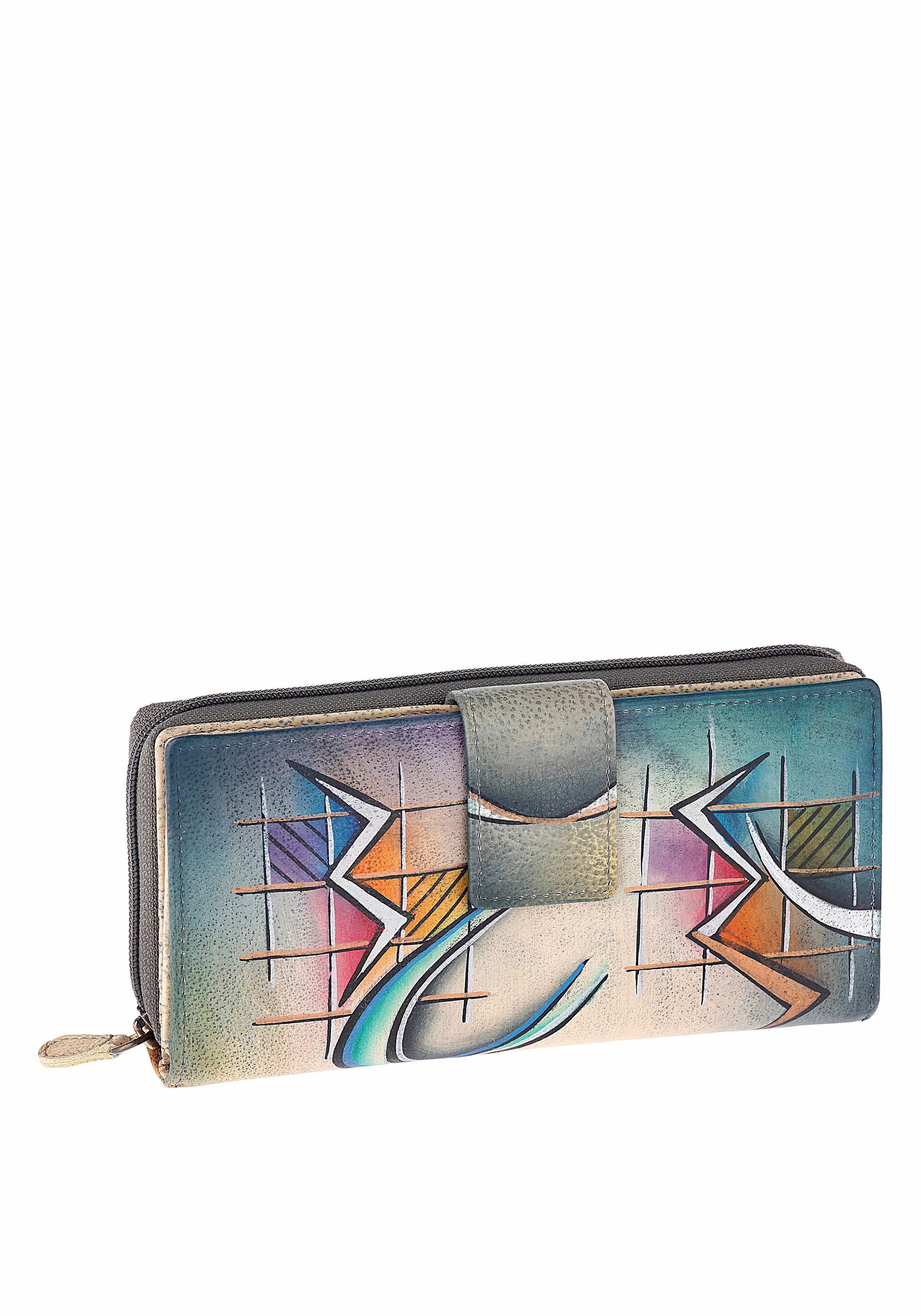 Art & Craft Geldbörse, handbemalt aus echtem Leder