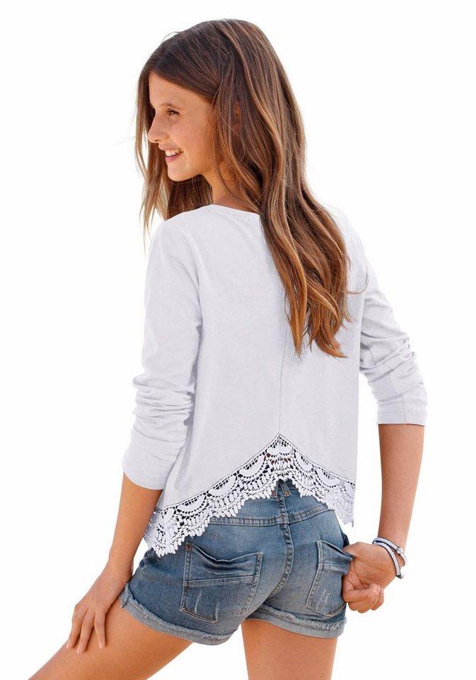 Arizona Rundhalsshirt mit Spitze am Saum in weiß