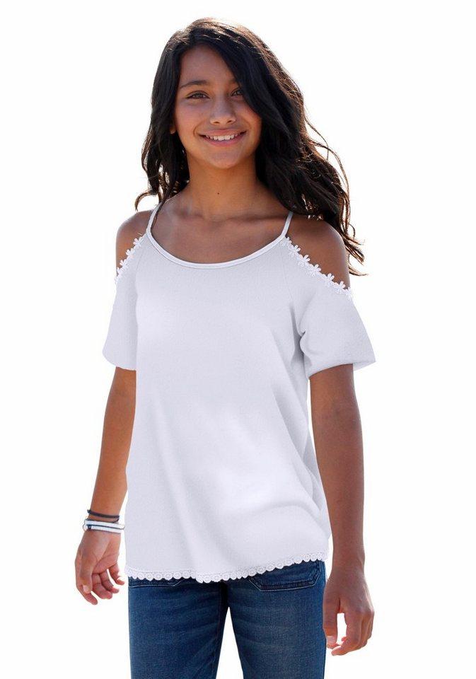 Arizona T-Shirt aufwendige Blumenbordüre an Schulter und Saum in weiß