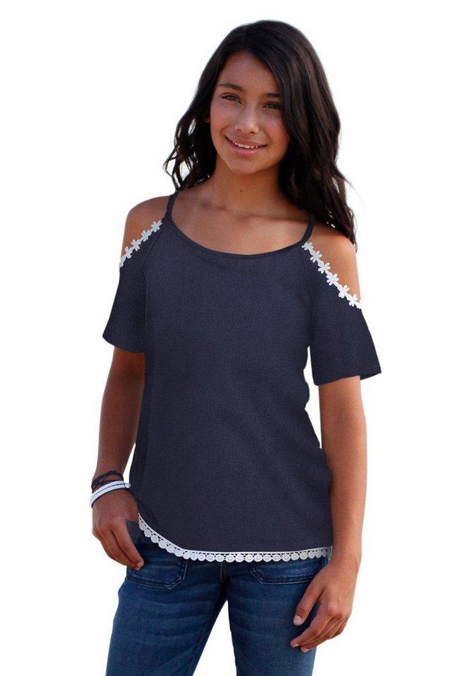 Arizona T-Shirt aufwendige Blumenbordüre an Schulter und Saum in marine