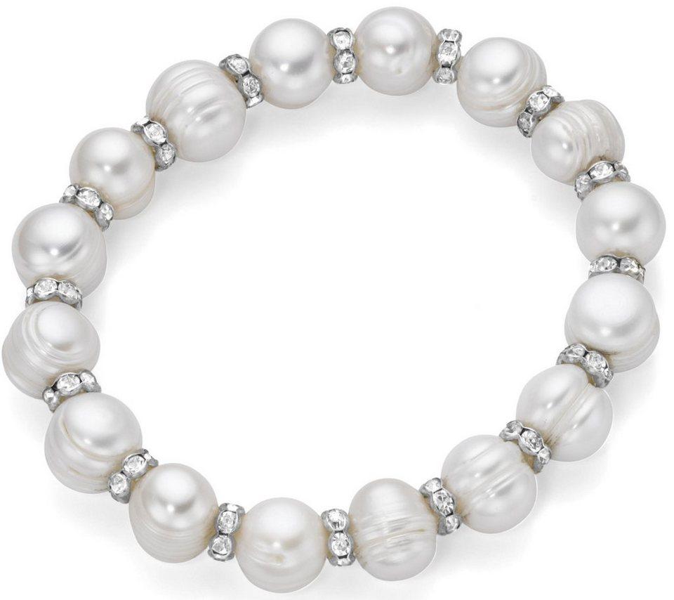 Firetti Perlenarmband mit Süßwasserzuchtperlen und Kristallsteinen in silberfarben-weiß