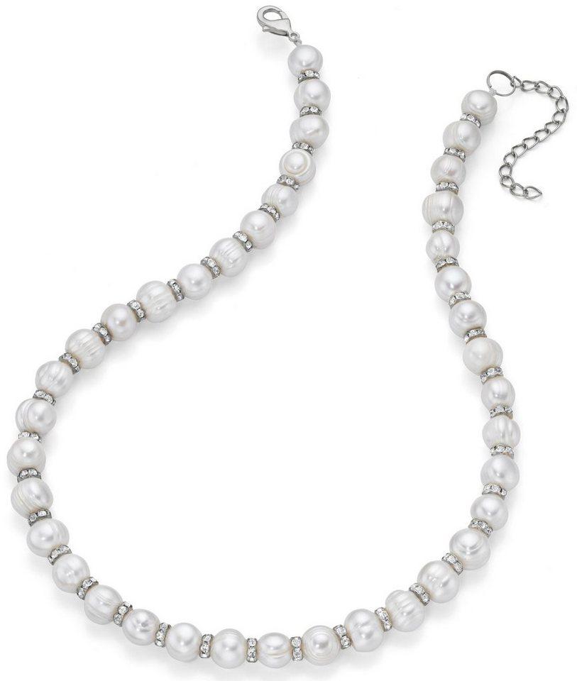 Firetti Perlenkette mit Süßwasserzuchtperlen und Kristallsteinen in silberfarben-weiß