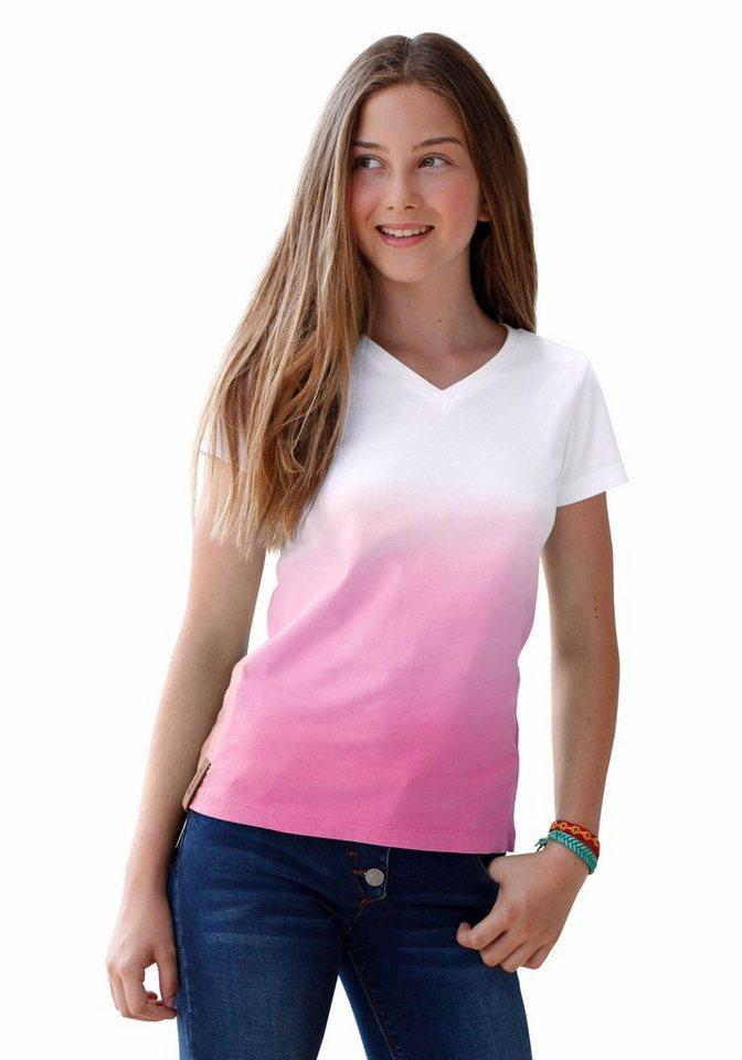 Bench T-Shirt mit Dip-Dye-Effekt in pink-weiß
