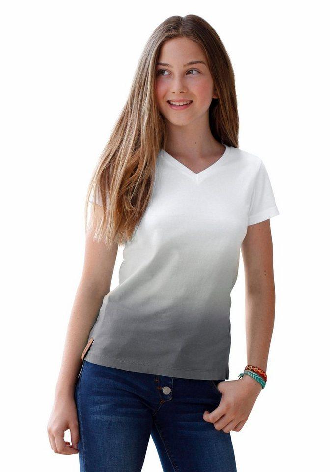 Bench T-Shirt mit Dip-Dye-Effekt in anthrazit-weiß