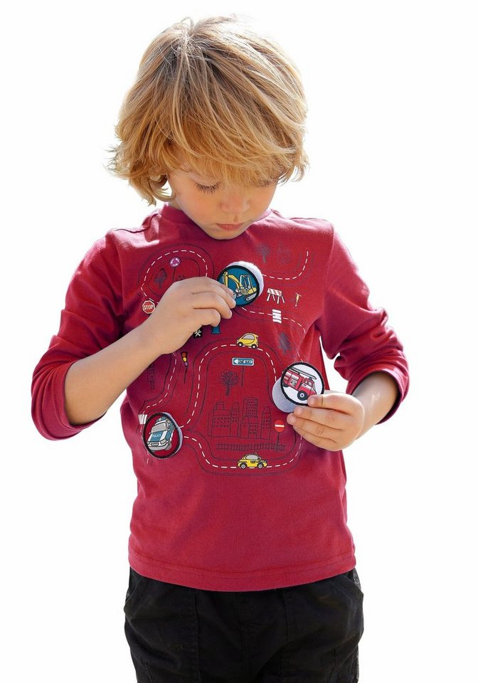 KIDSWORLD Langarmshirt mit 3 Klett-Applikationen (Set, 4 tlg.) in rot