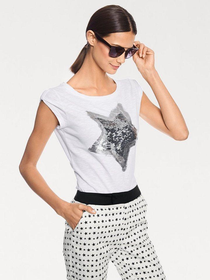 Rundhalsshirt in weiß