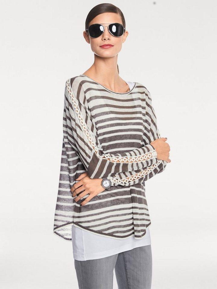 RICK CARDONA by Heine Oversized-Pullover gestreift in grau/ecru