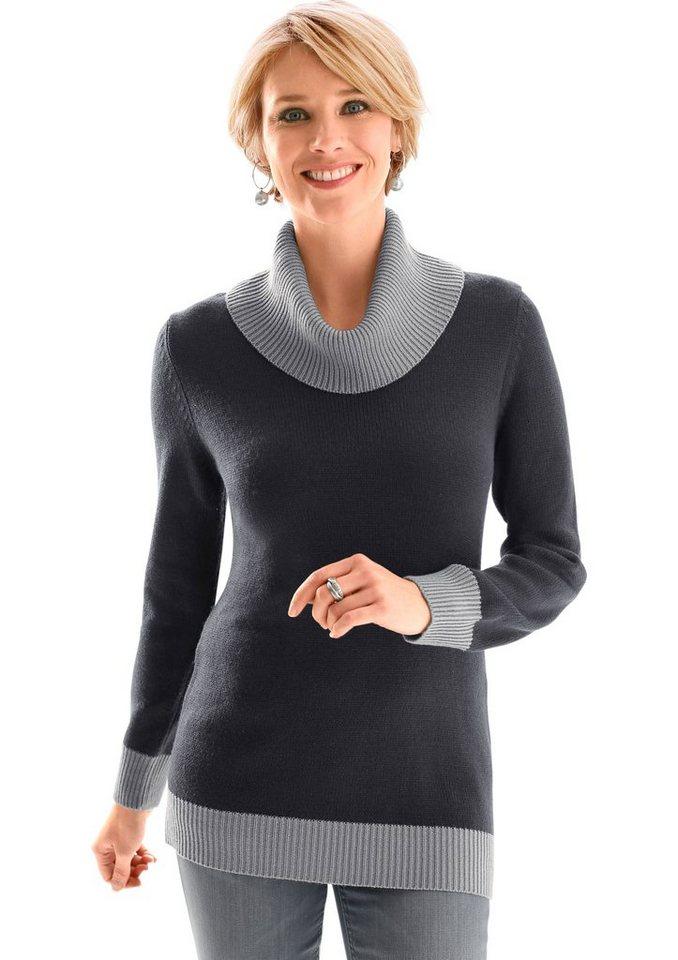 Classic Basics Pullover mit halsfernem Rollkragen in anthrazit-grau