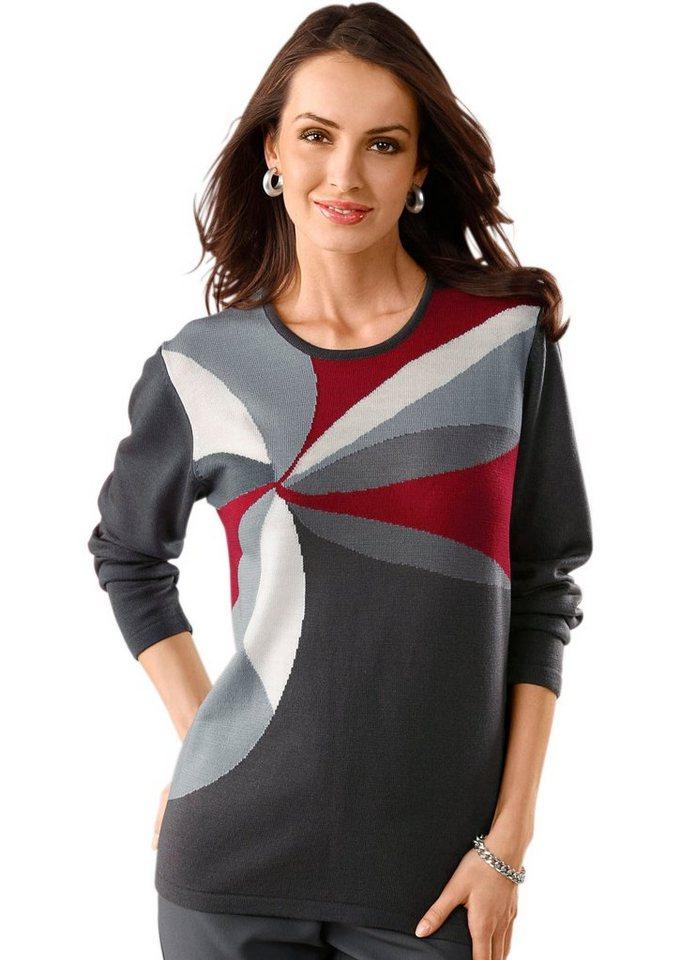 Classic Basics Pullover mit Jacquard-Muster in grau-gemustert