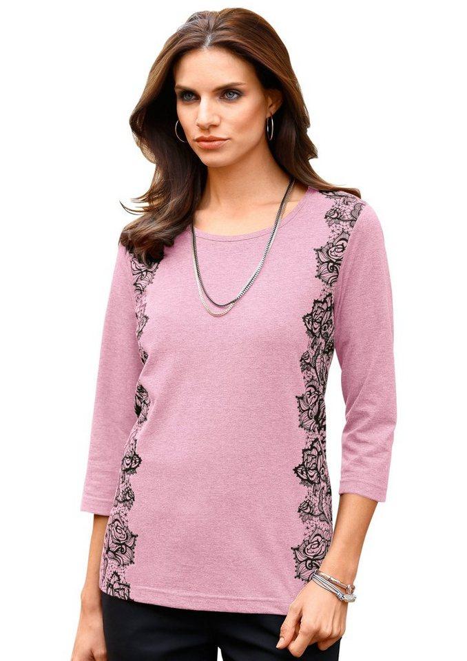 Classic Basics Shirt mit schönem Spitzendruck in altrosé
