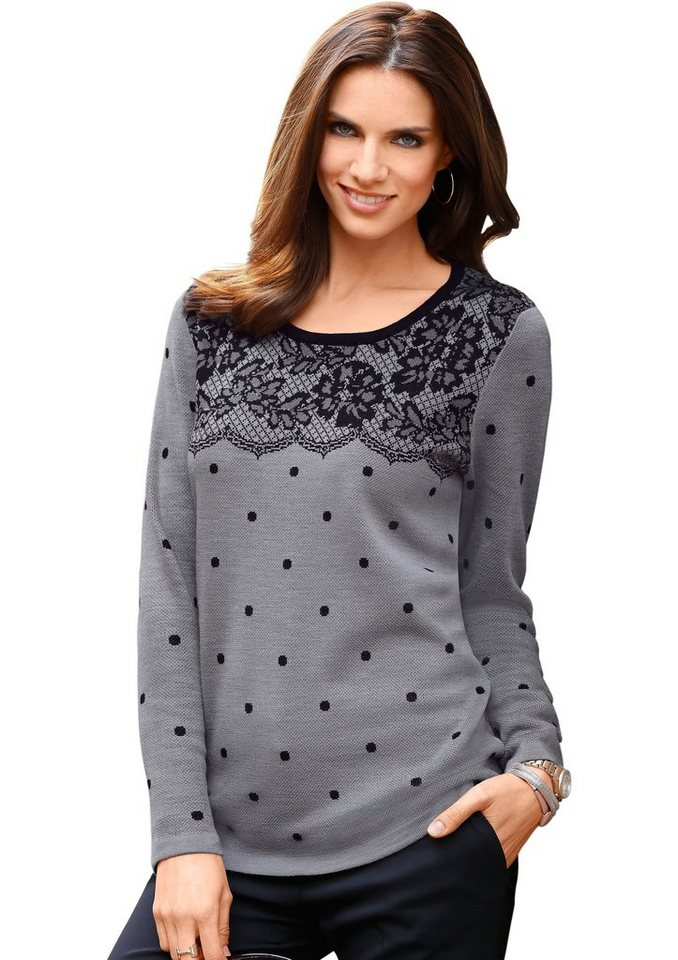 Classic Basics Pullover mit Spitzen-Muster in grau