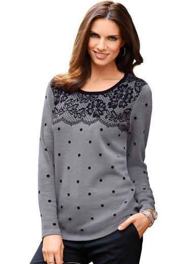 Classic Basics Pullover mit Spitzen-Muster