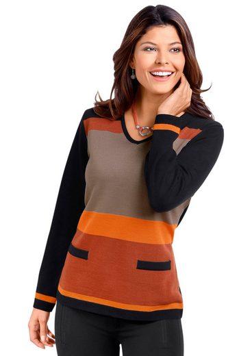 Classic Basics Pullover mit Streifen-Muster im Vorderteil