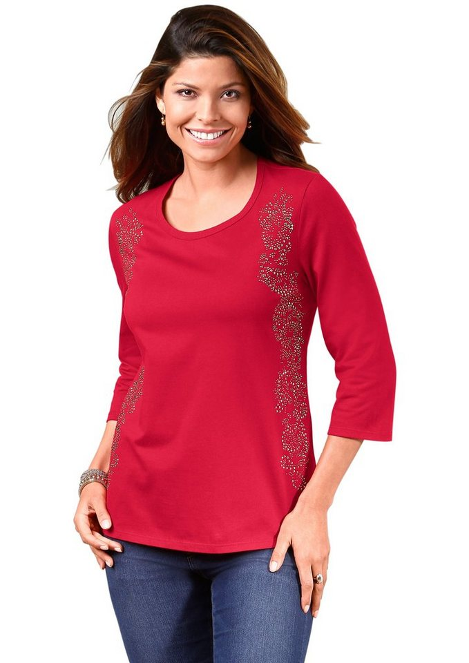 Classic Basics Shirt mit Deko-Elemente in rot