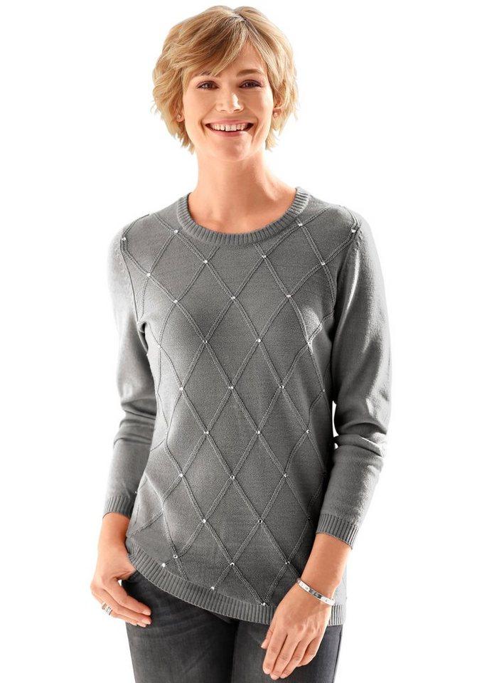 Classic Basics Pullover mit aufgenähten Glitzersteinchen in grau