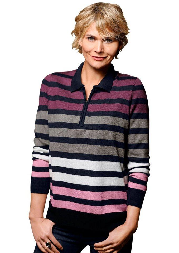 Classic Basics Pullover mit Polokragen in marine-geringelt