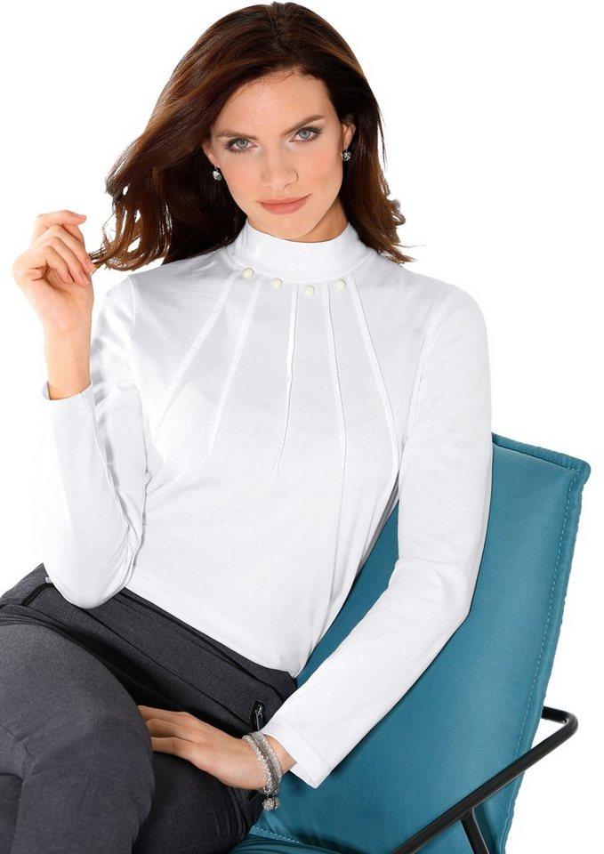 Classic Basics Shirt mit Schmuckknöpfe in weiß