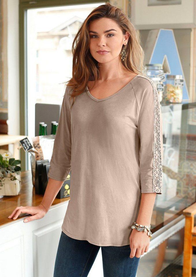 Classic Basics Shirt in edler Veloursleder-Optik in camel