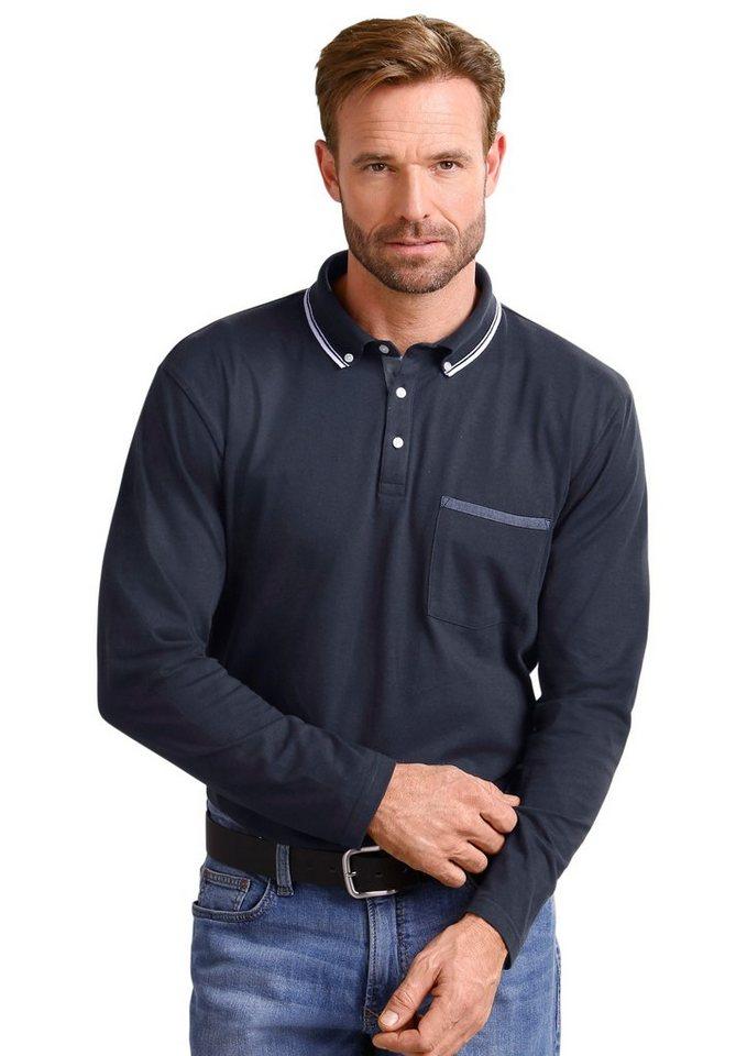 Classic Basics Poloshirt mit kurzer Knopfleiste in marine