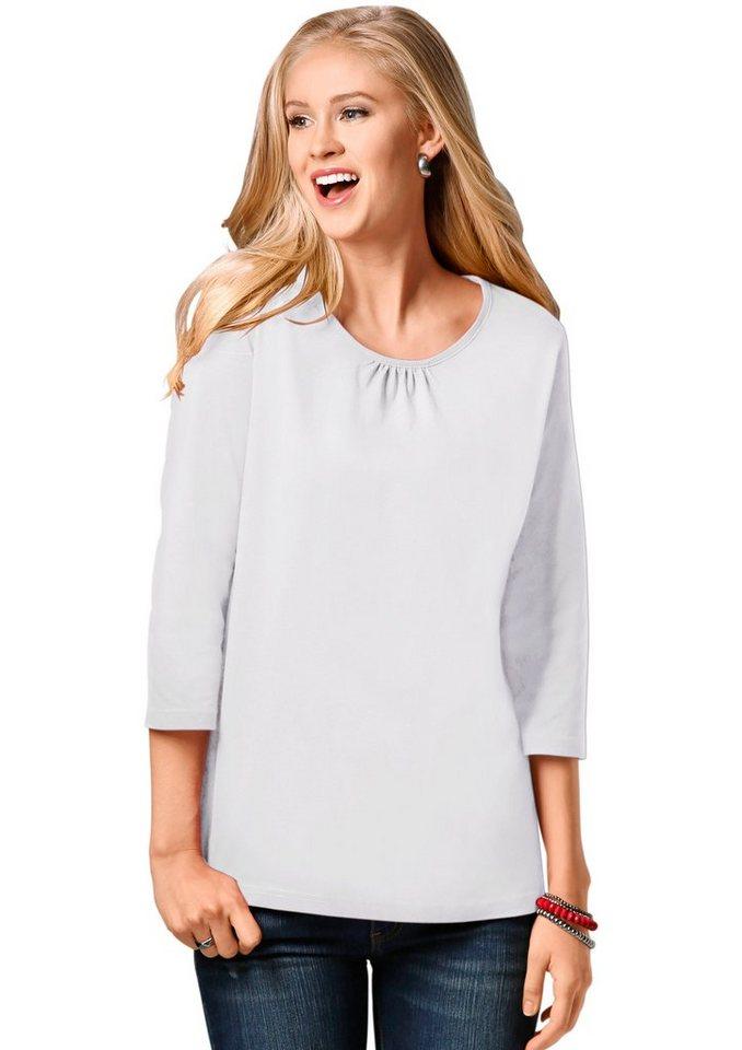 Classic Basics Shirt mit Raffung im Vorderteil in weiß