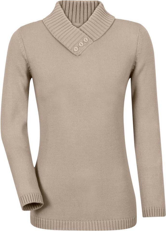 Classic Basics Pullover mit schimmernden Zierknöpfen in taupe