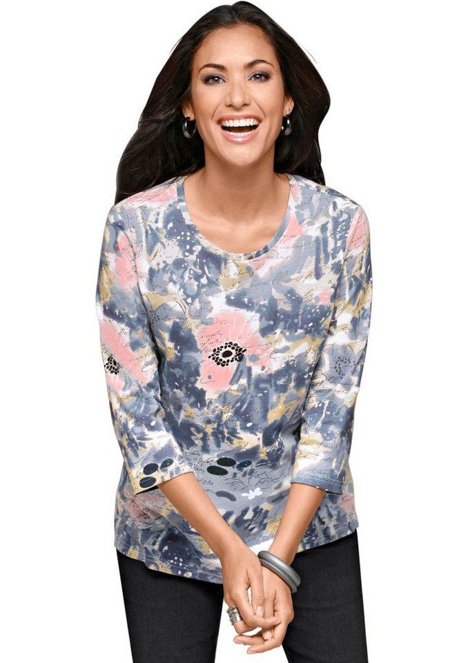 Classic Basics Shirt mit farbenfrohem Dessin in bleu-gemustert