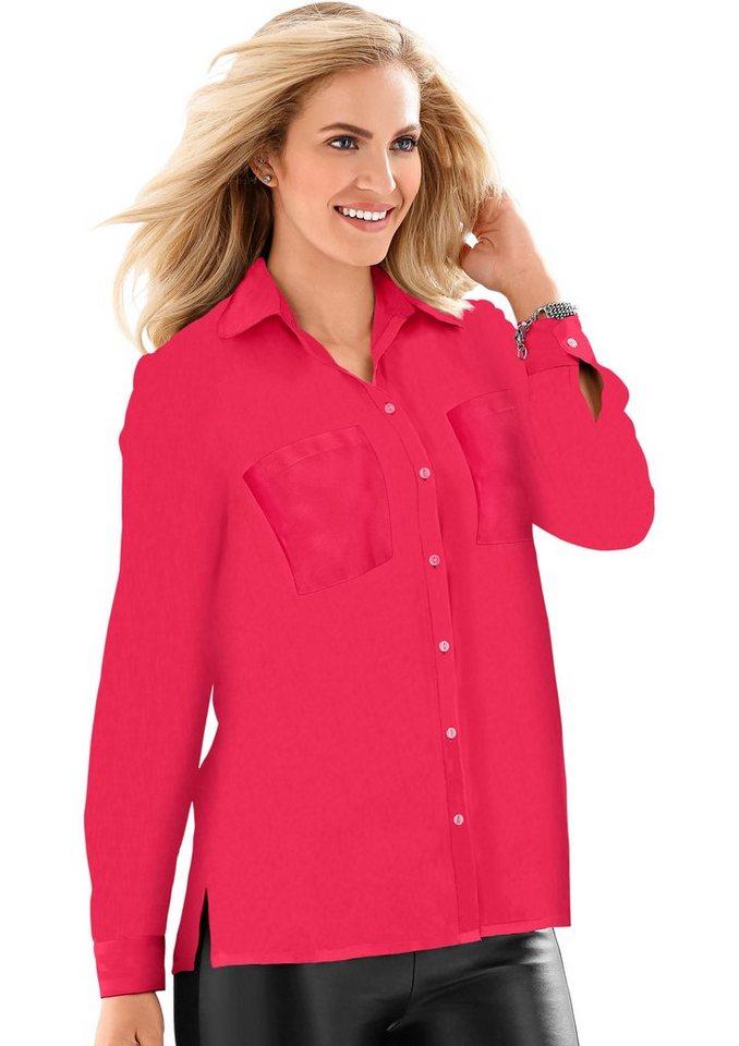 Classic Basics Bluse mit knöpfbaren Manschetten in rot