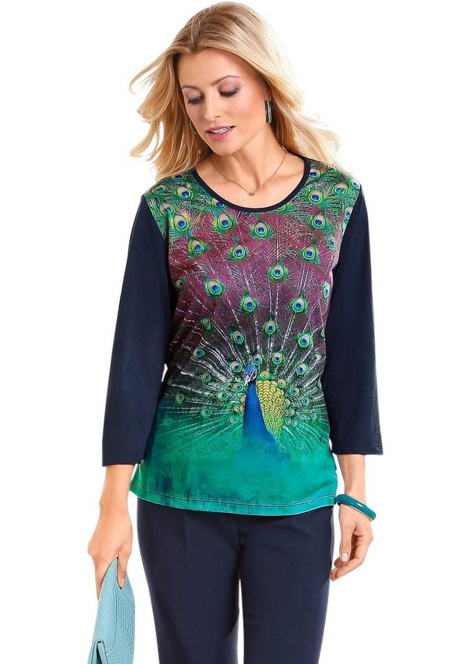 Classic Basics Shirt mit Pfauendruck in blau-türkis-bedruckt
