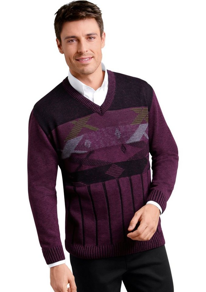 Classic Basics V-Pullover mit grafischem Muster in bordeaux
