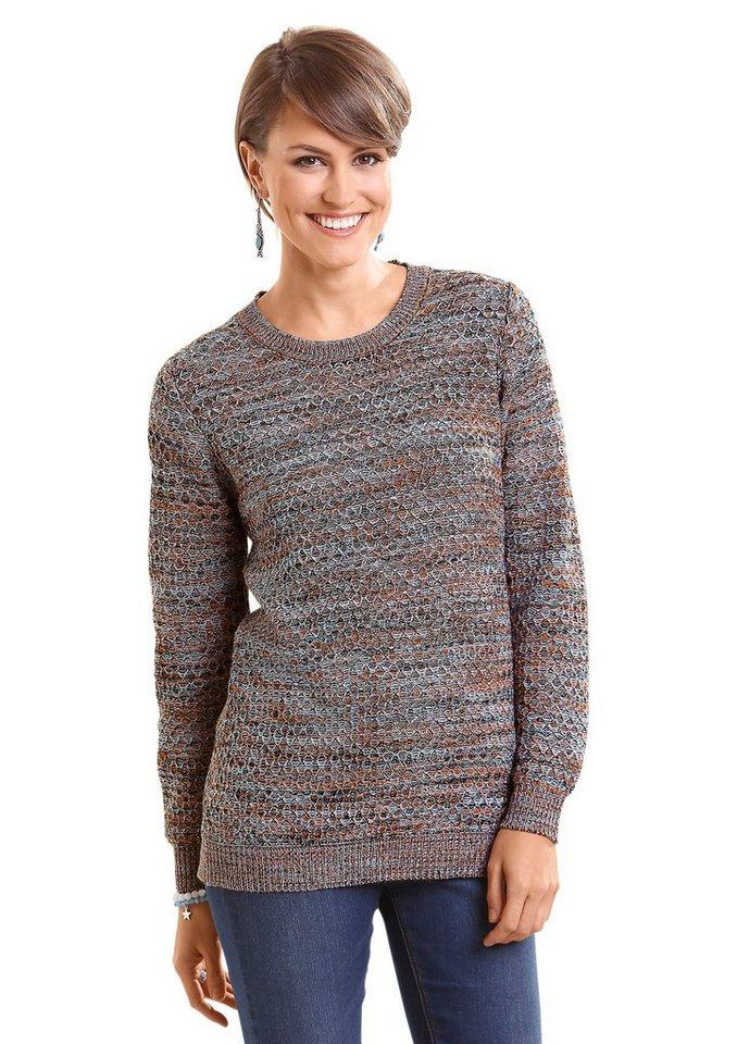 Classic Basics Pullover mit schönem Struktur-Strickmuster in schwarz-gemustert