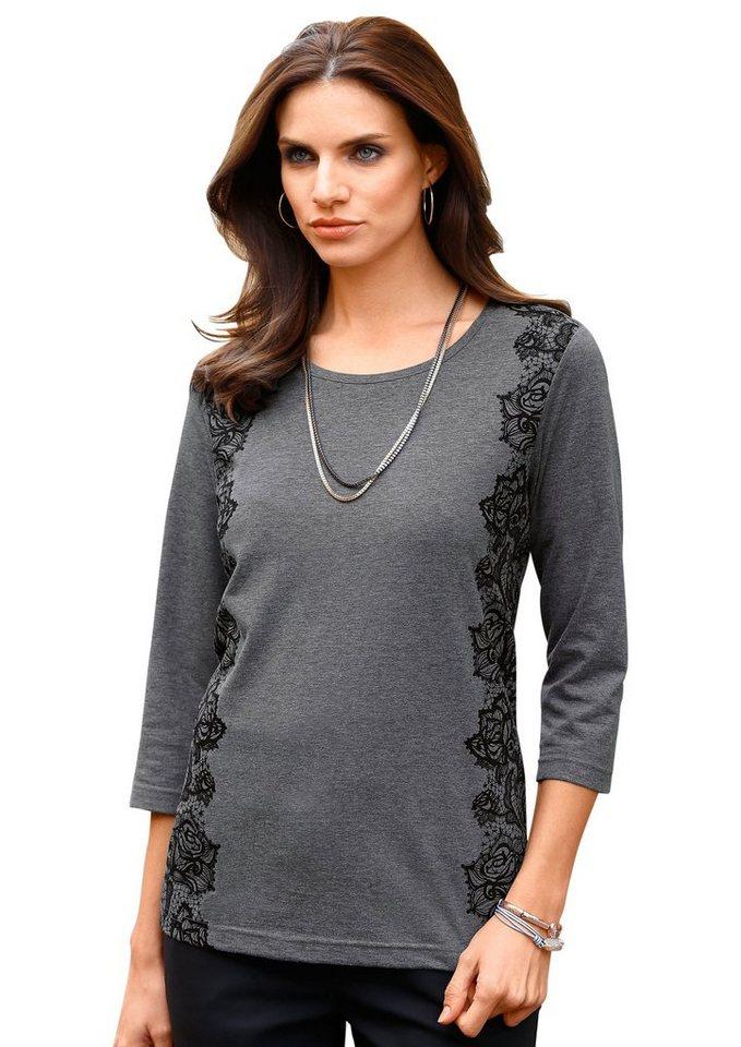 Classic Basics Shirt mit schönem Spitzendruck in dunkelgrau-meliert
