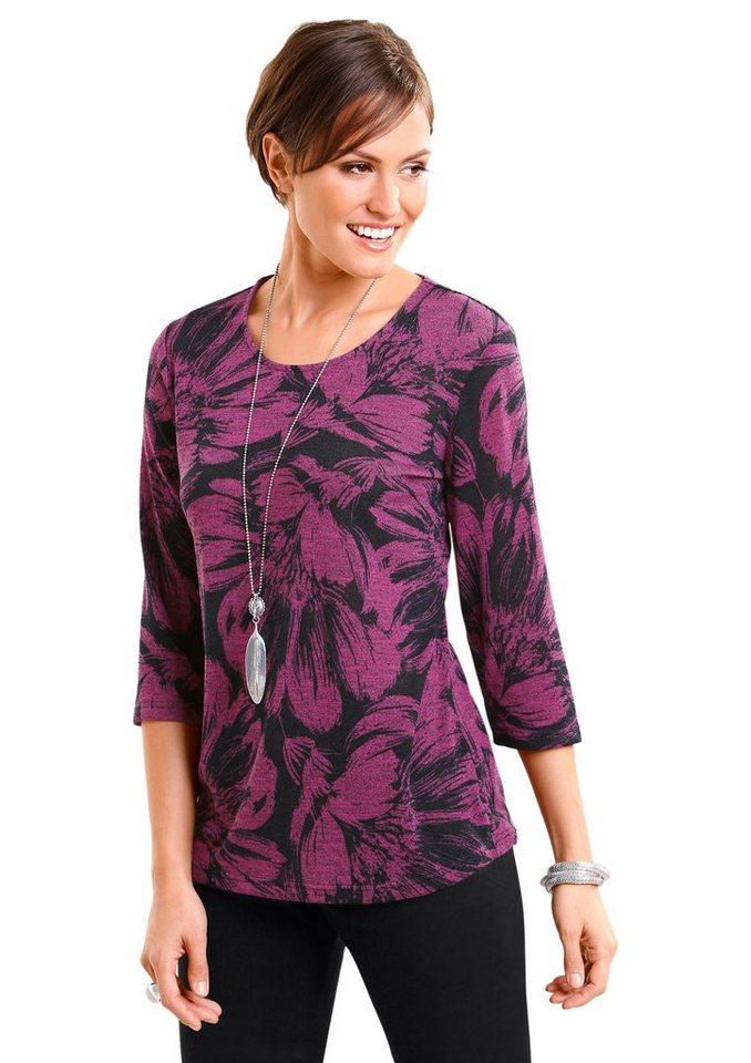 Classic Basics Pullover mit großem Blumendruck in pink-schwarz